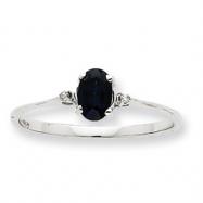 10k White Gold Polished Geniune Diamond & Sapphire Birthstone Ring