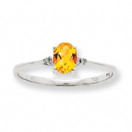 10k White Gold Polished Geniune Diamond/Citrine Birthstone Ring