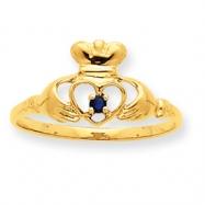 10k Polished Geniune Sapphire Birthstone Ring