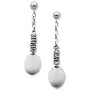 Sterling Silver Chain & Circle Dangle Post Earrings