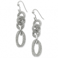 Sterling Silver & Rhodium Oval & Circle Dangle Earrings