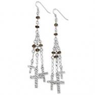 Sterling Silver & Rhodium Bead & Cross Dangle Earrings