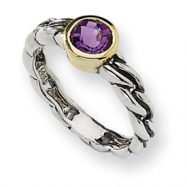 Sterling Silver w/14ky Antiqued 6mm Round Amethyst Ring
