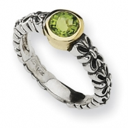 Sterling Silver w/14ky Antiqued 6mm Round Peridot Ring