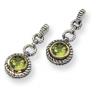 Sterling Silver/Gold-plated Antiqued Peridot Earrings