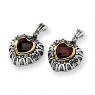 Sterling Silver w/14k 7mm Garnet Antiqued Heart Post Earrings