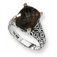 Sterling Silver w/14ky 12x10mm Smokey Quartz and Diamond Ring