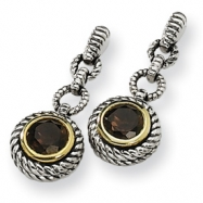 Sterling Silver/Gold-plated Accent Smokey Quartz Antiqued Post Earrings