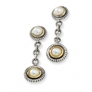Sterling Silver w/14ky 4mm & 5mm White FW Cultured Pearl Earrings