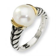 Sterling Silver w/14ky 10mm White FW Cultured Pearl Ring