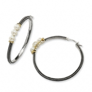 Sterling Silver/14ky 3-Button 4.5mm FW Cultured Pearl Hoop Earrings