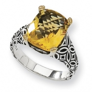Sterling Silver w/14ky 12x10mm Citrine and Diamond Ring