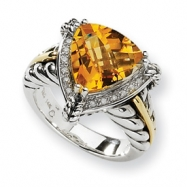 Sterling Silver w/14ky 12mm Trillion Citrine & Diamond Ring