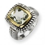 Sterling Silver w/14ky 12X10 Green Amethyst & Diamond Bezel Ring