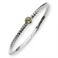 Sterling Silver w/14ky 6m Green Amethyst Hinged Bangle Bracelet
