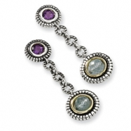Sterling Silver w/14ky Briolette Amethyst/Sky Blue Topaz Earrings