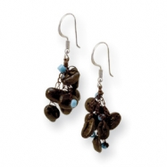 Sterling Silver Coffee Bean & Blue Bead Spongie Earrings