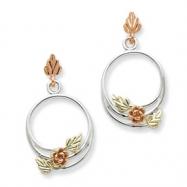 Sterling Silver & 12K Circle Rose Post Earrings