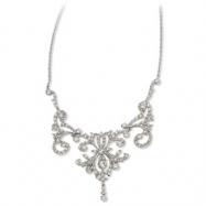Sterling Silver CZ Fancy Scroll 17in w/2in ext Necklace chain
