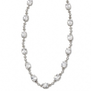 Sterling Silver CZ 17in Necklace chain