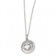 Sterling Silver Circle CZ 18in Necklace chain