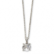 Sterling Silver Checker-cut Round CZ 18in Necklace chain