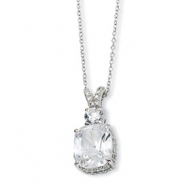 Sterling Silver CZ 18in Necklace chain