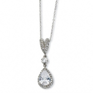 Sterling Silver Pear CZ 18in Necklace chain