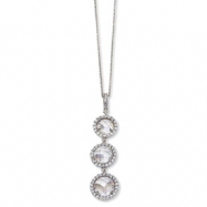 Sterling Silver Checker-cut CZ 3-stone 18in Necklace chain