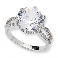 Sterling Silver 100-facet CZ Ring