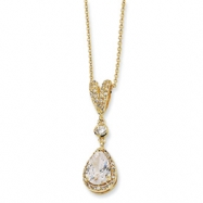 Gold-plated Sterling Silver Pear CZ 18in Necklace chain