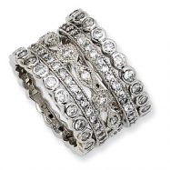 Gold-plated Sterling Silver CZ Eternity Five Ring Set ring
