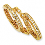 Gold-plated Sterling Silver CZ Eternity Three Ring Set ring