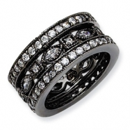 Black-plated Sterling Silver CZ Eternity Three Ring Set ring