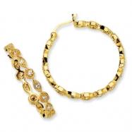 Gold-plated Sterling Silver CZ Hoop Earrings
