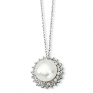 Sterling Silver CZ Cultured Pearl 18In Necklace chain