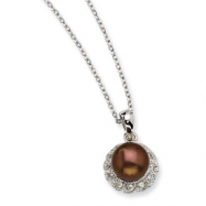 Sterling Silver CZ Chocolate Cultured Pearl 18In Necklace chain