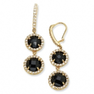 Gold-plated Sterling Silver Checker Blk CZ 2-stone Wire Earrings