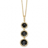Gold-plated Sterling Silver Chkr-cut Black CZ 3-stone 18in Necklace chain
