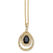 Gold-plated Sterling Silver Blk/Wht Pear CZ 18in Necklace chain