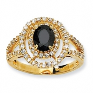 Gold-plated Sterling Silver Fancy Oval Black/White CZ Ring