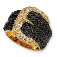 Gold-plated Sterling Silver Black/White CZ Buckle Ring