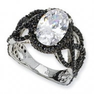 Black-plated Sterling Silver Fancy Oval Black/Wht CZ Ring
