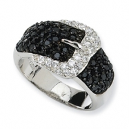 Sterling Silver Polished Black/White CZ Belt Ring