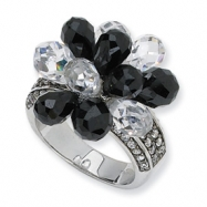 Sterling Silver Briolette-cut Black/White CZ Ring