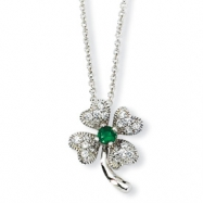 Sterling Silver Childs Sim.Emerald/CZ 4-leaf Clover 15in Necklace chain