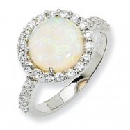 Sterling Silver Synthetic Opal & CZ Ring