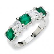 Sterling Silver Asscher-cut Simulated Emerald/CZ 5-stone Ring