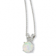 Sterling Silver Synthetic Opal Cabochon & CZ 18in Necklace chain
