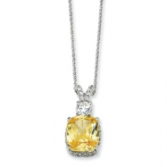 Sterling Silver Canary & White CZ 18in Necklace chain